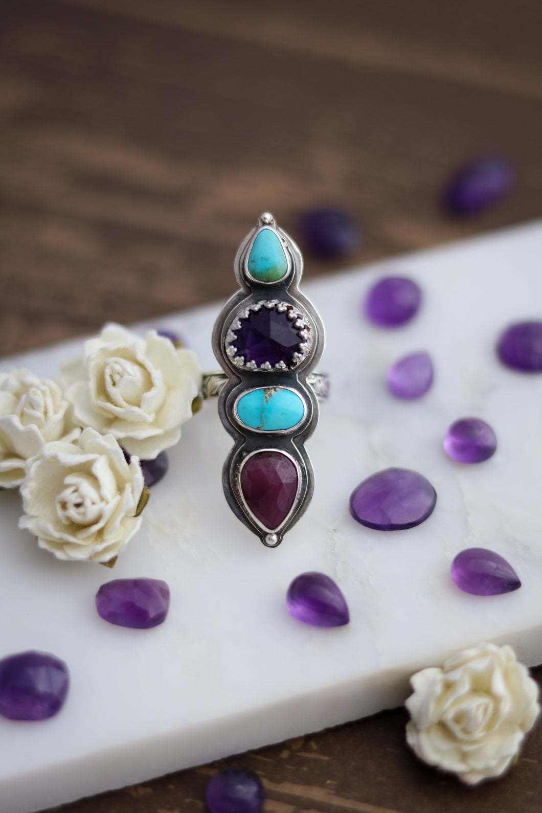 Spring Magic Ring. Amethyst, Turquoise & Sapphire, Size 6.5 -6.75