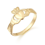 Yellow Gold Claddagh Ring With Celtic Knot Design