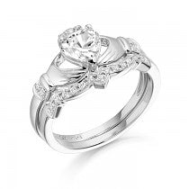 White Gold CZ Claddagh Ring Set