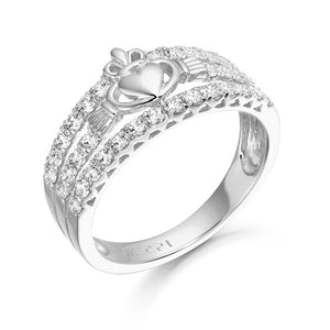 White Gold CZ Claddagh Ring