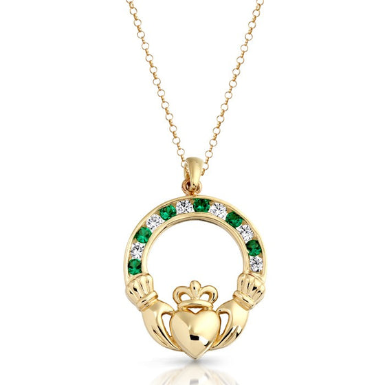Yellow Gold CZ Claddagh Pendant