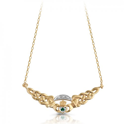 Yellow Gold CZ Claddagh Necklace