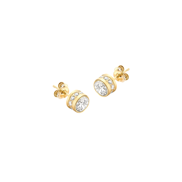 9CT YELLOW GOLD CZ ROUND STUD EARRINGS
