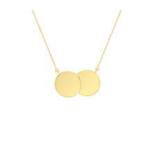 9ct YELLOW GOLD DOUBLE DISC NECKLACE 26MM