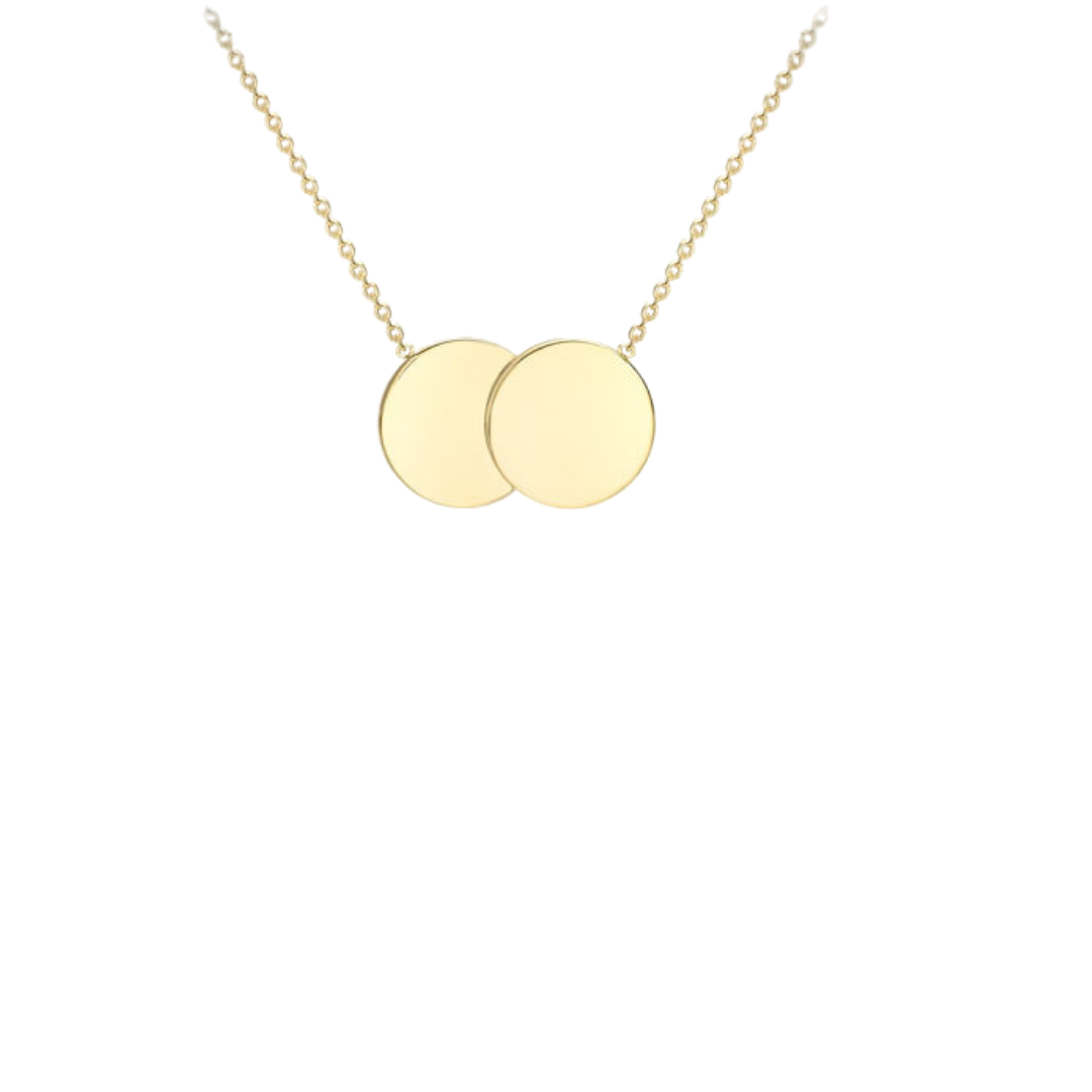 9ct Yellow Gold Double Disc Necklace