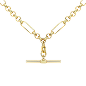 9ct YELLOW GOLD FIGARO & BELCHER T-BAR NECKLACE