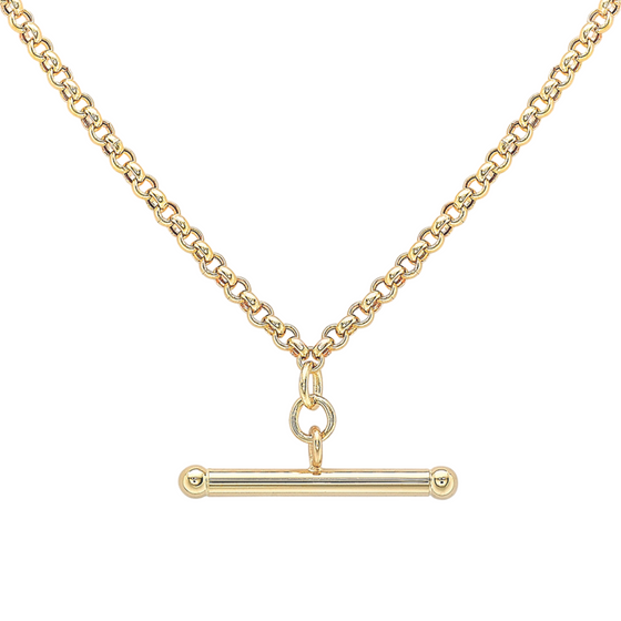 9ct YELLOW GOLD T-BAR BELCHER CHAIN