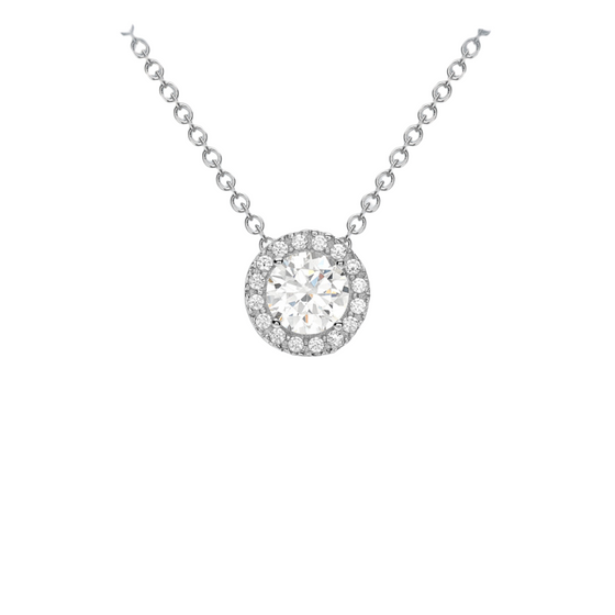 9CT WHITE GOLD CZ PENDANT NECKLACE