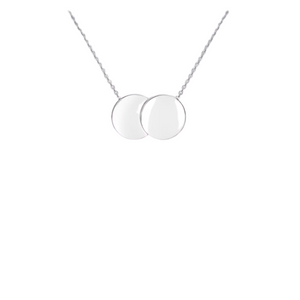 9ct White Gold Double Disc Necklace
