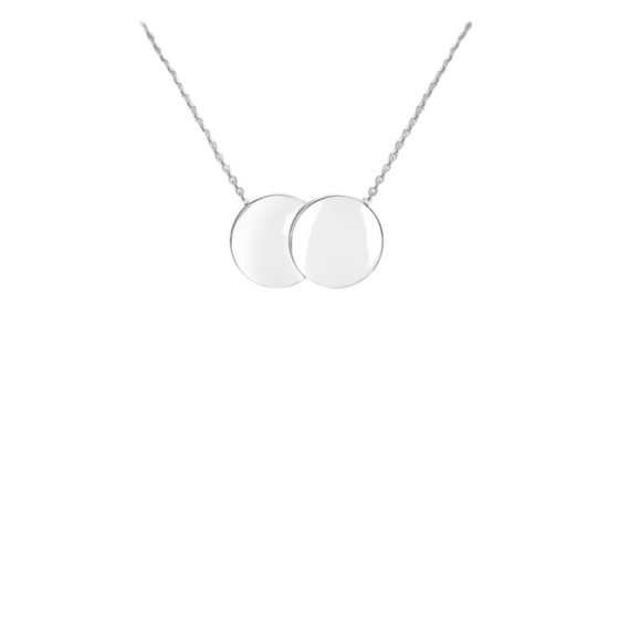 *PRE ORDER* 9ct White Gold Double Disc Necklace