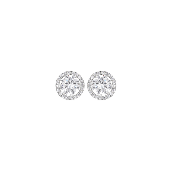 9CT WHITE GOLD ROUND CZ AND PAVE SETSTUD EARRINGS