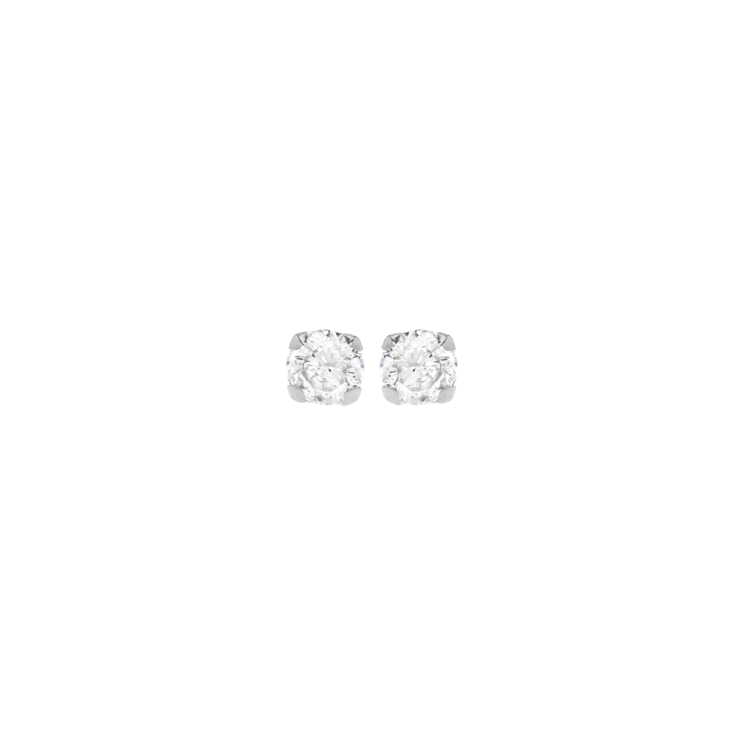 9CT WHITE GOLD ROUND CZ STUD EARRINGS