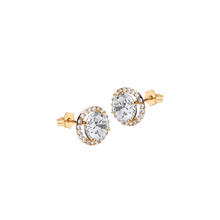 9CT YELLOW GOLD ROUND CZ AND PAVE SET STUD Earring