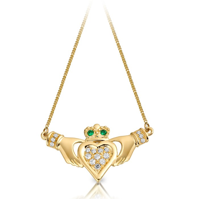 Yellow Gold Emerald CZ Claddagh Necklace