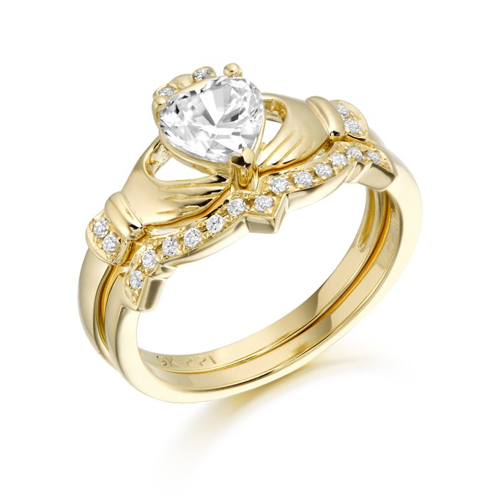 Yellow Gold CZ Claddagh Ring Set