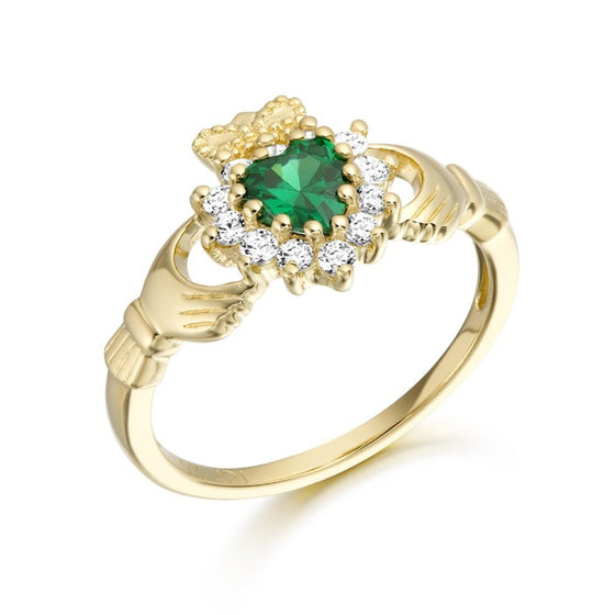 Yellow Gold CZ & Emerald Claddagh Ring