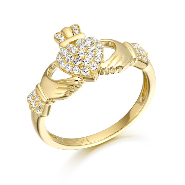 Yellow Gold CZ Heart Claddagh Ring
