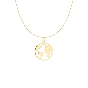 "9ct YELLOW GOLD ""WORLD MAP"" NECKALCE"
