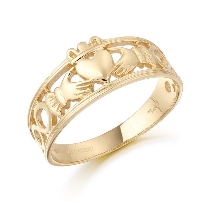 Ladies Yellow Gold Claddagh Ring With Celtic Knot Shoulders