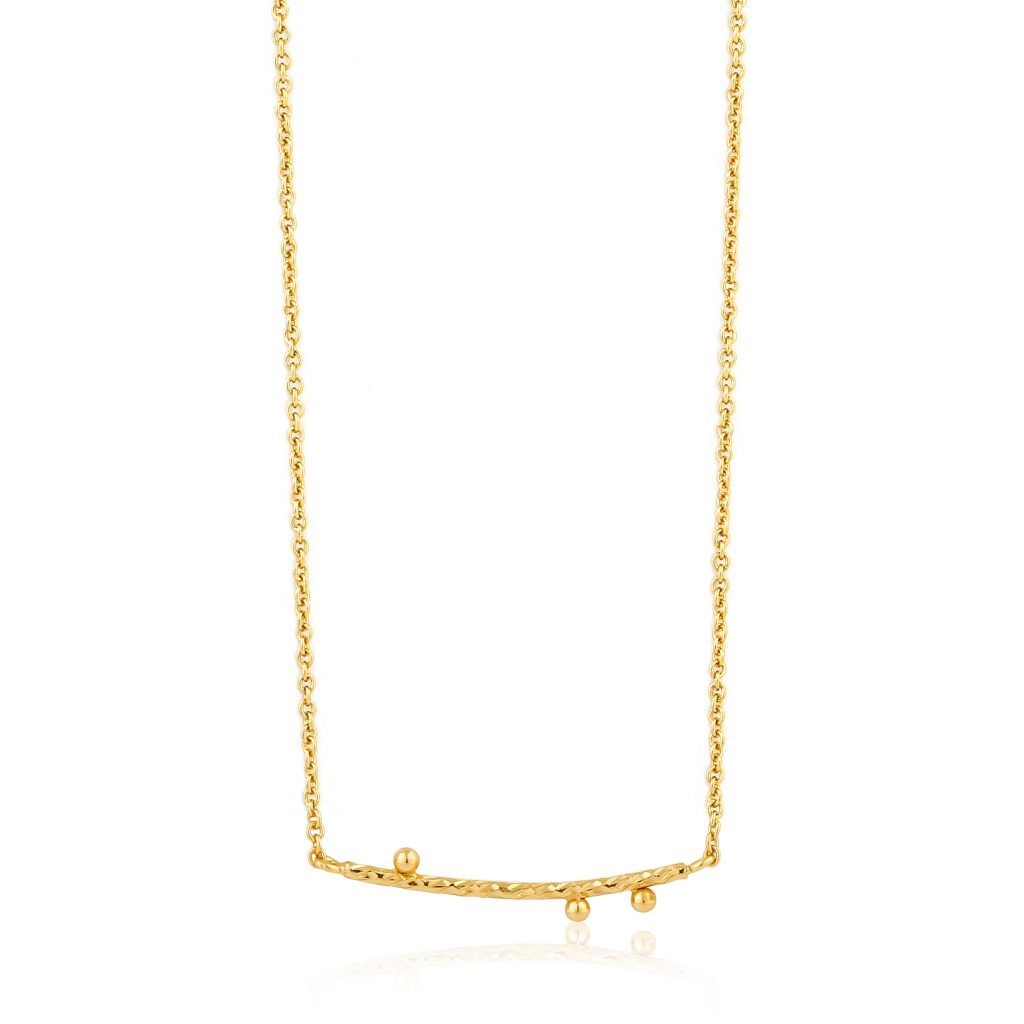 Ania Haie Textured Solid Bar Gold Plated Necklace