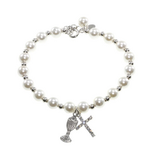 First Holy Communion Pearl and Crystal Charm Bracelet