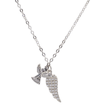 First Communion Sterling Silver CZ Wing & Angel Necklace