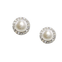 First Communion Pearl and CZ Stud Earring