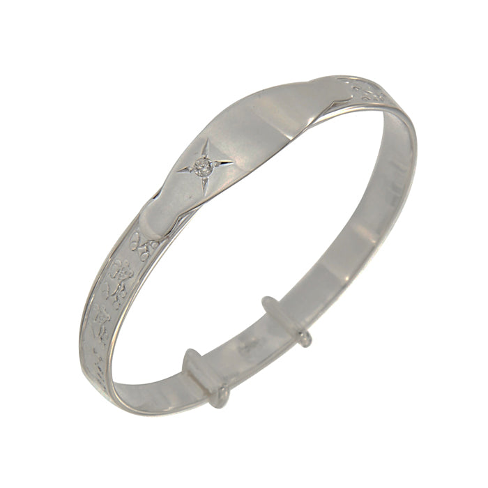 Sterling Silver Baby Bangle with Clear Stone
