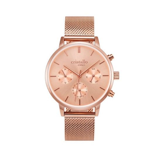 Cristallo di Milano Rose Gold and Chronograph Dial Watch