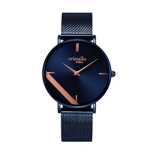 Cristallo di Milano Navy and Rose Gold Watch