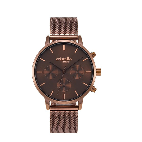 Cristallo di Milano Mocha Mesh Strap and Chronograph Dial Watch