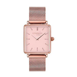 Cristallo di Milano Rose Gold Mesh Strap and Square Face Watch