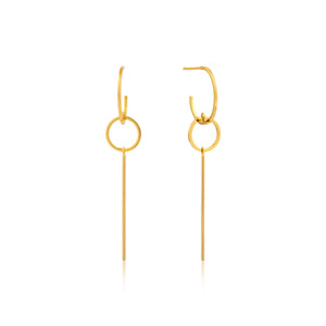 "ANIA HAIE ""GOLD MODERN SOLID DROP"" EARRINGS"
