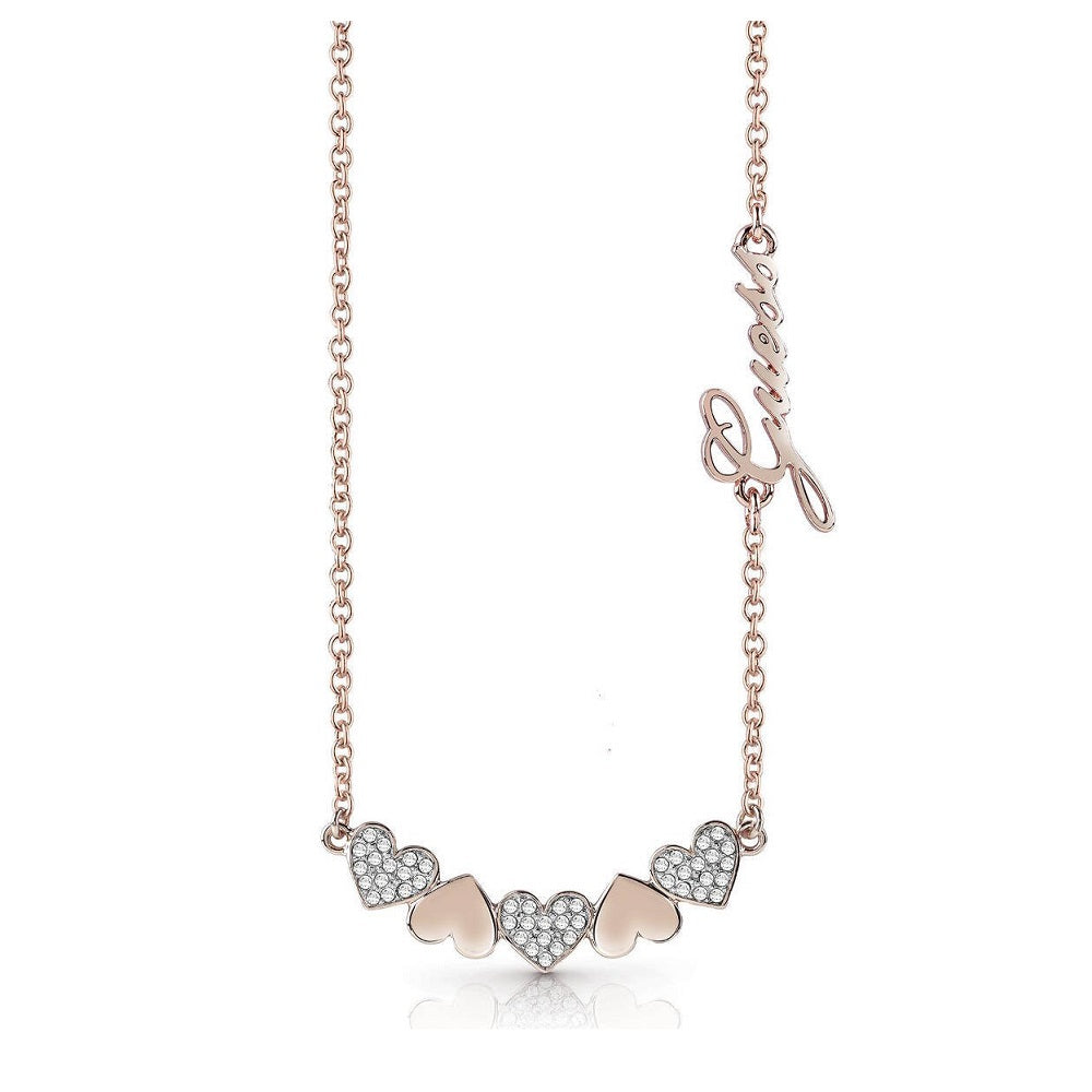 Guess Heart Bouquet Rose Gold Necklace