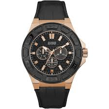 Mens Guess Black Strap Watch W0674G6