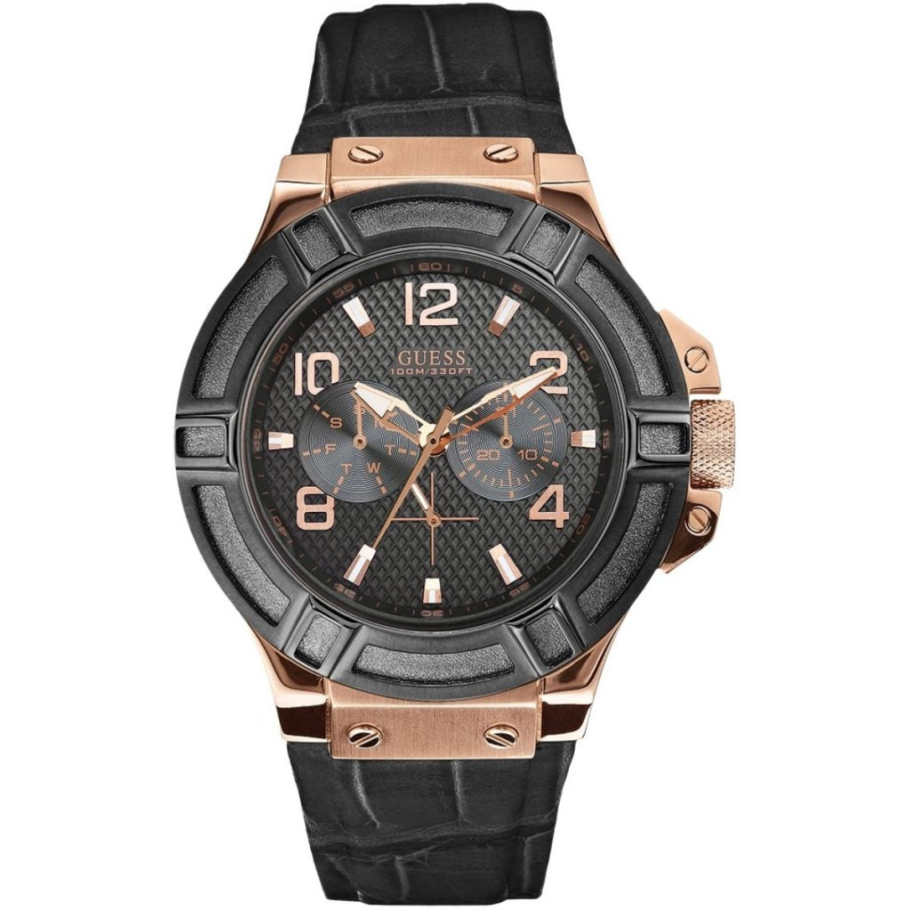 Mens Guess Black Leather Strip Watch