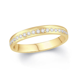 Ladies Diamond Pave Offset Wedding Ring 3.5 mm