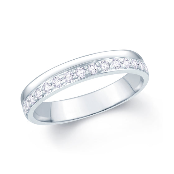 Ladies Diamond Pave Offset Wedding Ring 4 mm