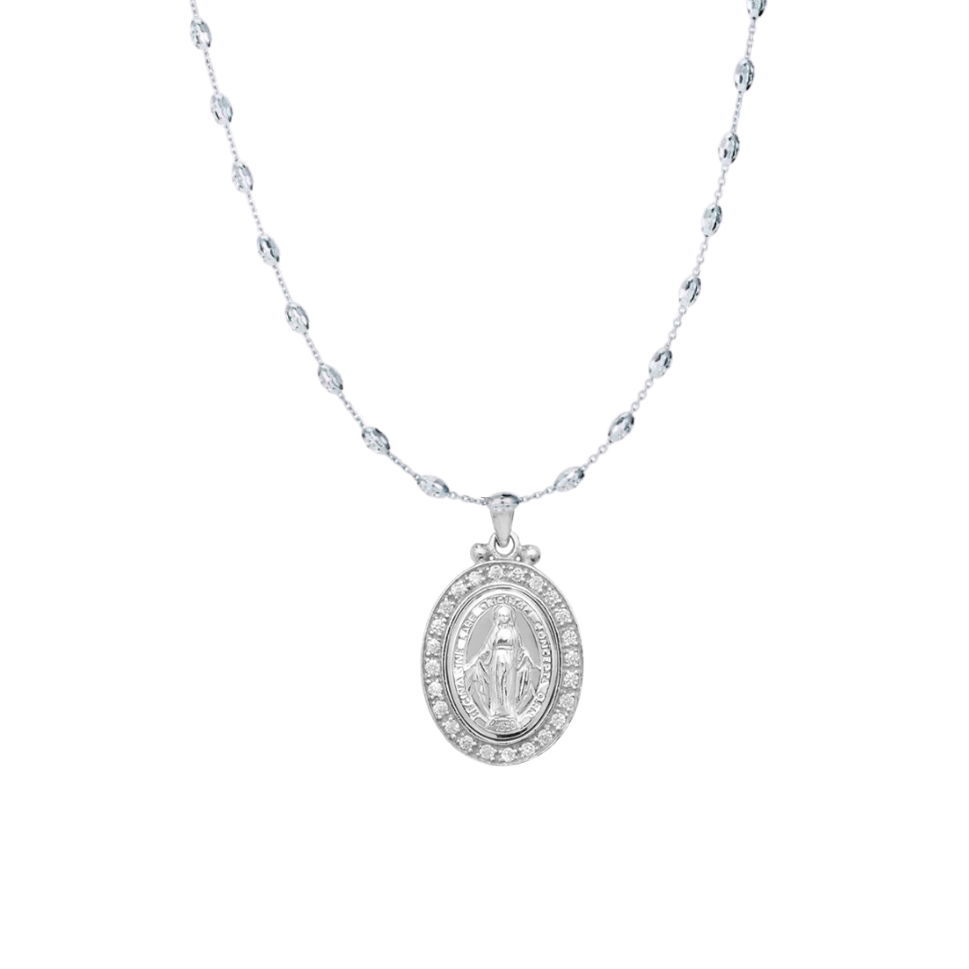 The CZ Miraculous Medal and Diamond Cut Chain