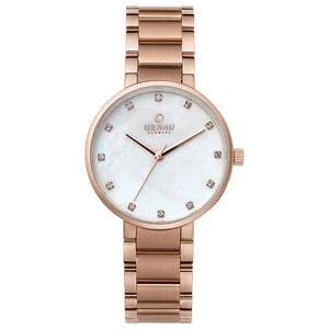 Obaku Glad Fuchsia Ladies Rose Gold Watch V189LXVWSV