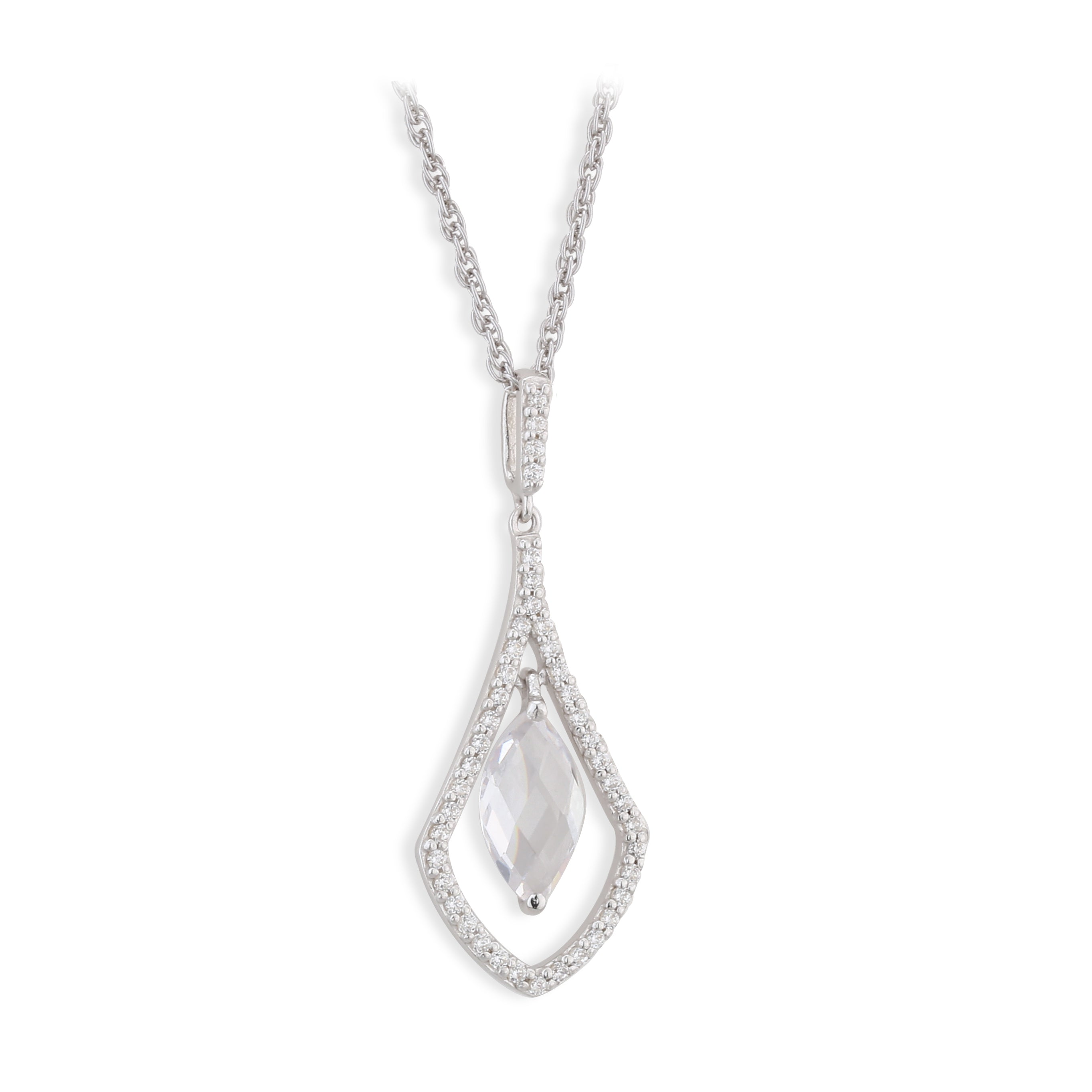 Paul Costelloe Sterling Silver and CZ Necklace