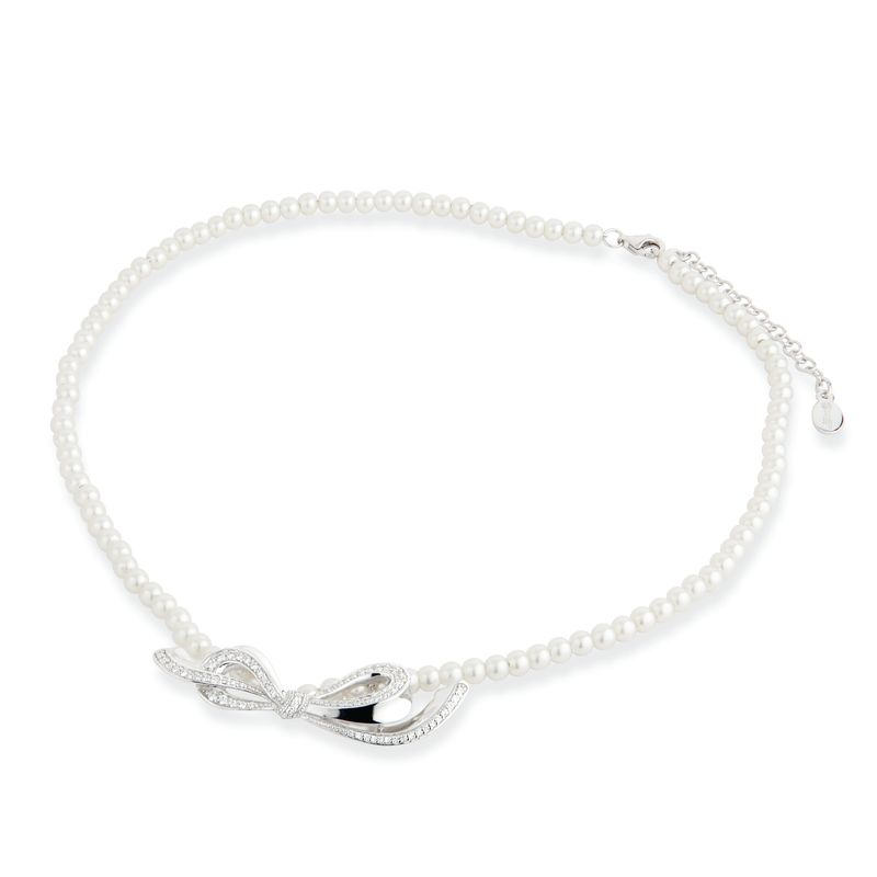 Paul Costelloe Sterling Silver, CZ & Pearl Bow Necklace