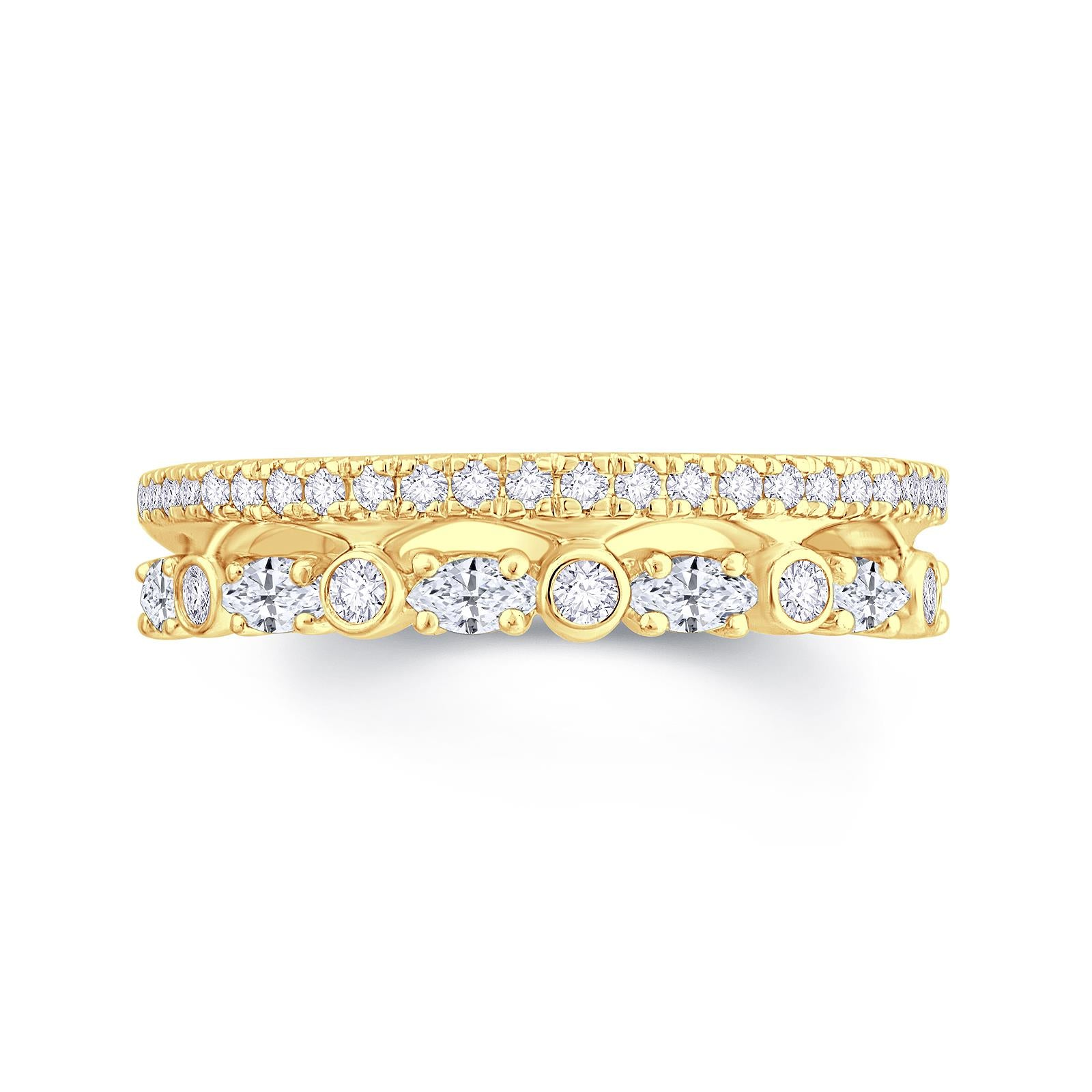 2 Row 18ct Yellow Gold Band with Round Brilliant and Marquise Diamonds.  Total Diamond Weight .70ct. 65% Spread