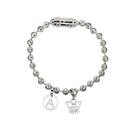 Rebecca Silver Diamond Cut Bracelet Initial and Guardian Angel Set