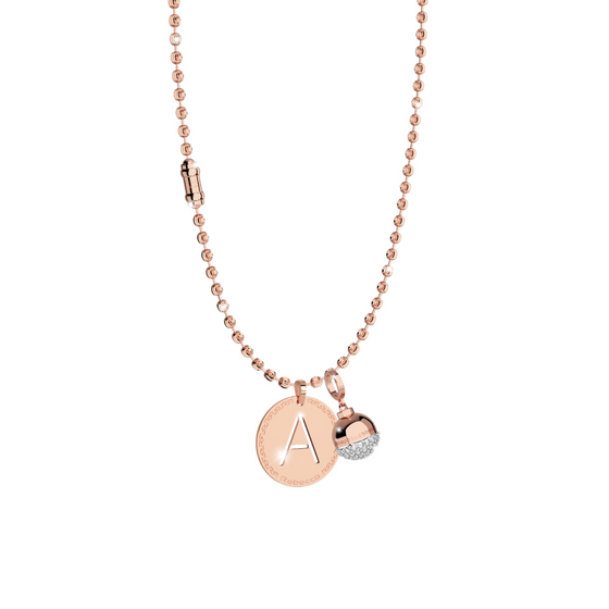 *PRE ORDER* Rebecca Diamond Cut Rose Fashion Necklace, CZ Acorn and Initial Set
