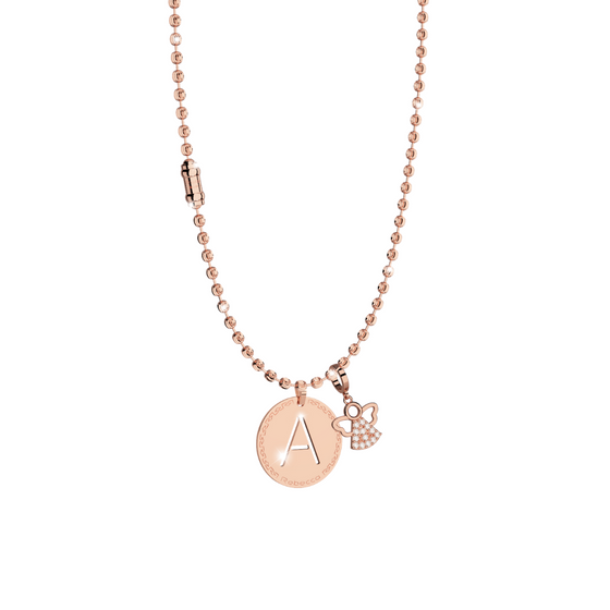 *PRE ORDER* REBECCA DIAMOND CUT ROSE FASHION NECKLACE,CZ GUARDIAN ANGEL AND INITIAL SET