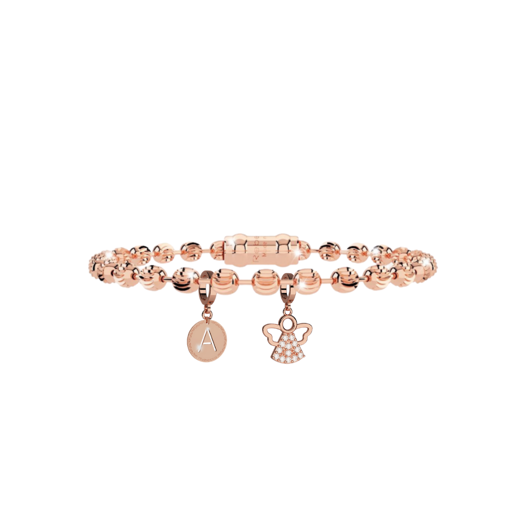 Rose Gold Rebecca Diamond Cut Bracelet Initial and Guardian Angel Set