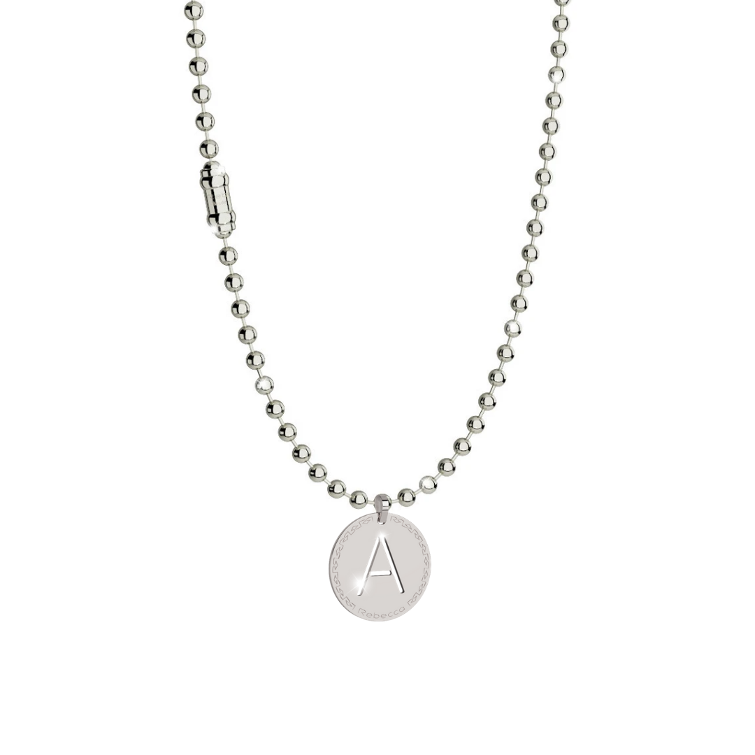 Rebecca Silver Fashion Plain Bead Necklace & Initial