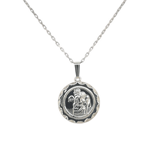 ROUND ST. CHRISTOPHER MEDAL & CHAIN