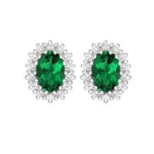 STERLING SILVER GREEN CZ STUD EARRINGS